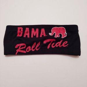 PINK Black & Red Bama Roll Tide Bandeau Bra M
